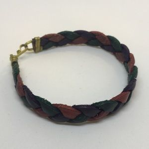 Leather bracelet multicolor braided band